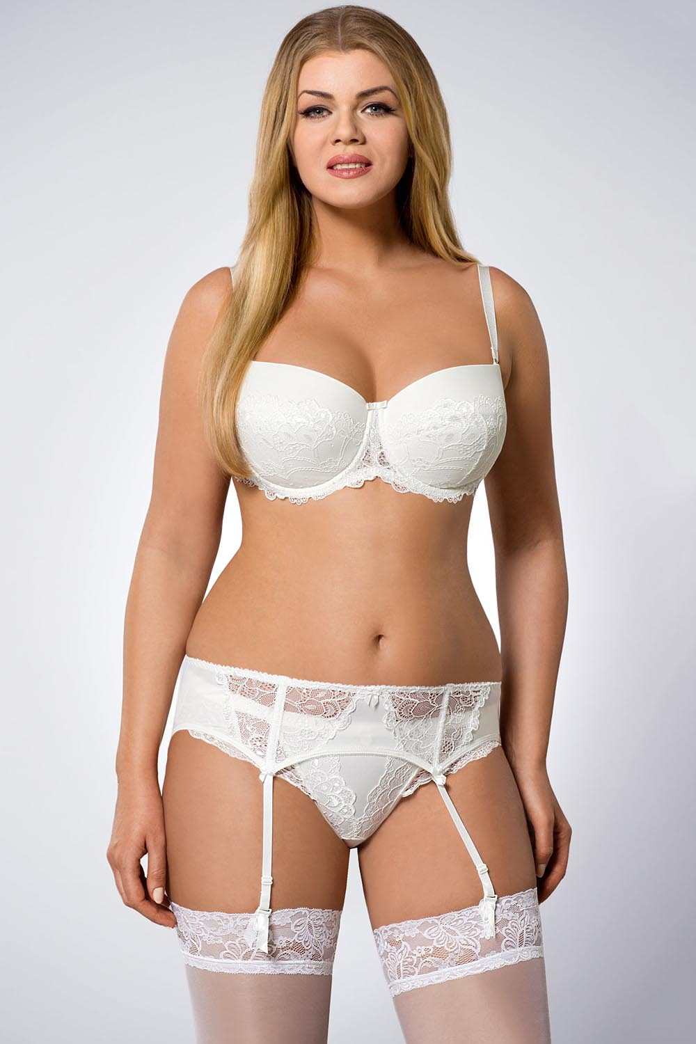 310f34b2ec ... Ava 605 Lala underwired embroidered balconette push-up pads bra  strapless bridal ...