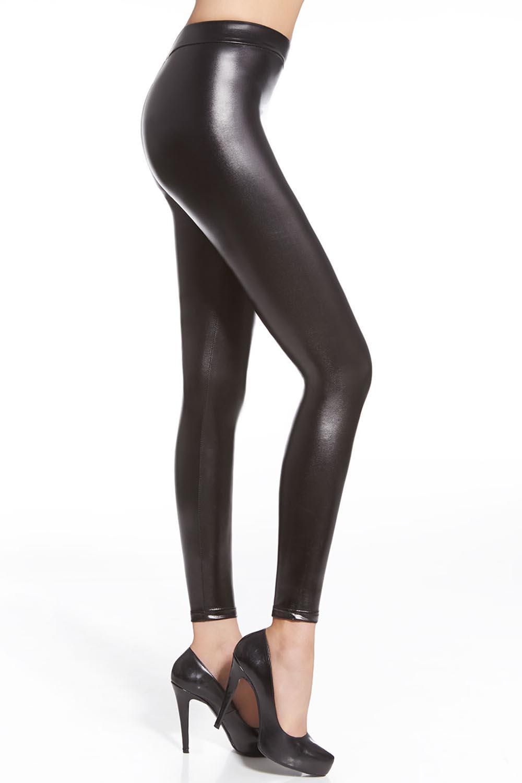 Leather look leggings long leg