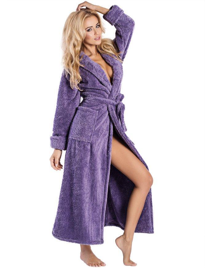Dkaren Eliza dluga women\'s dressing gown long sleeved smooth | Purple