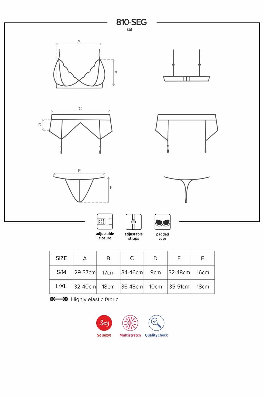 Obsessive 810-SEG-2 women s lingerie set padded bra suspender belt thong  pattern 146cf408e