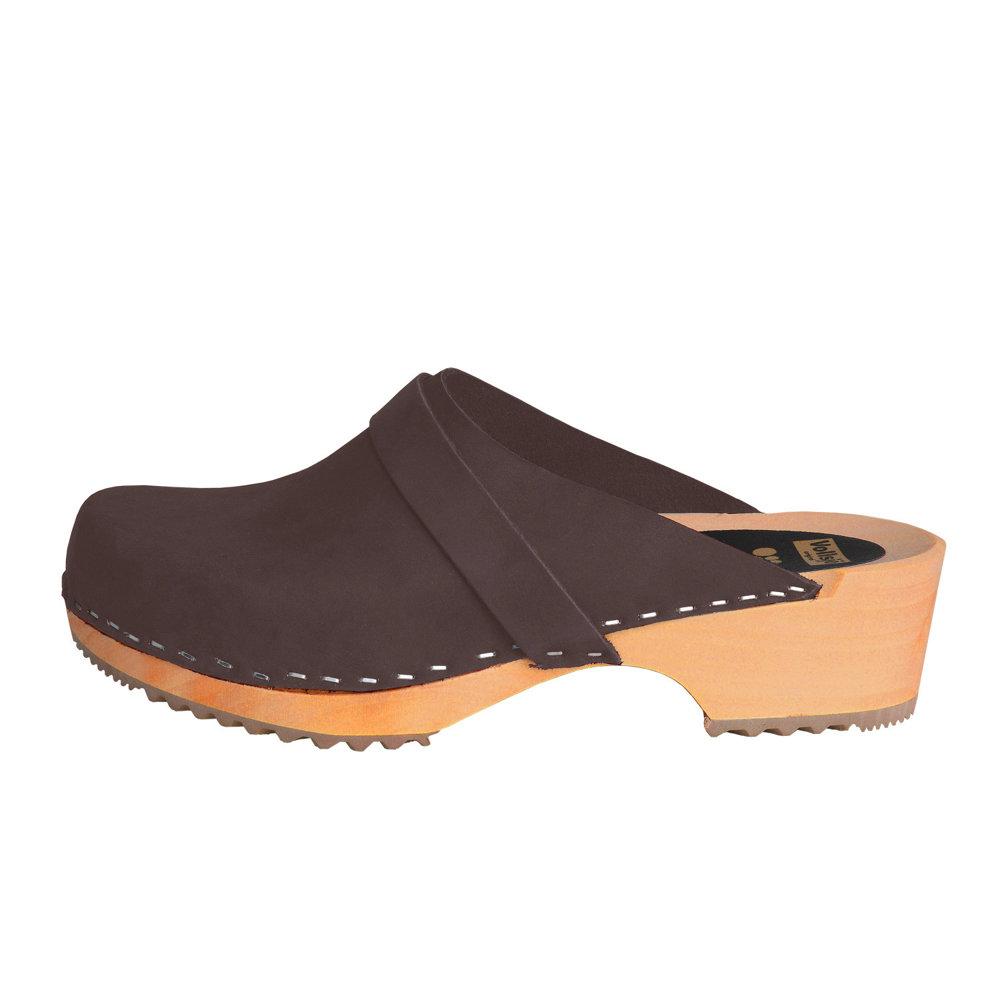 Vollsjö Mens Genuine Leather Wooden Clogs Suede Dark Brown