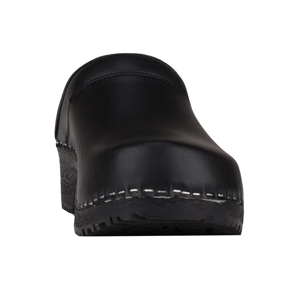 Vollsjo Mens Genuine Leather Wooden Clogs Black