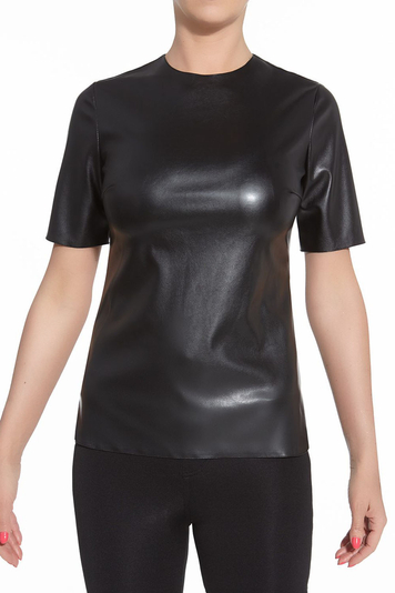 Bas Bleu Cher stylish leather-effect short sleeve top