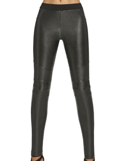Bas Bleu Savana women's leggings plain faux leather with push-up effect