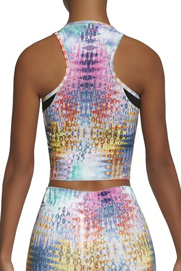Bas Bleu Tessera top 30 women's sports top sleeveless multicolour patterned