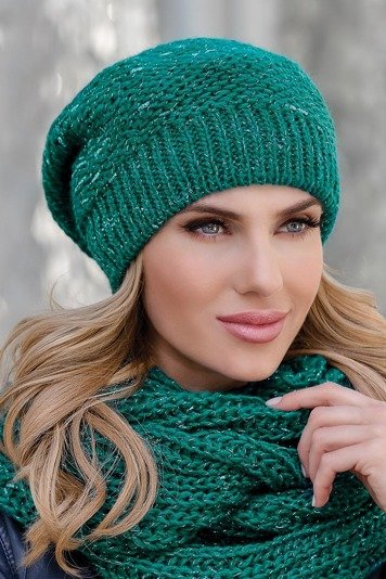 Eterno Beata women's beanie hat shiny woolen knit no pattern one colour casual
