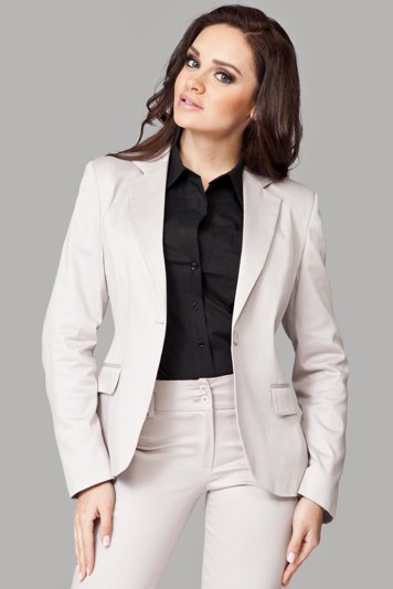 Figl 108 classic blazer with stylish collar and one button for closure