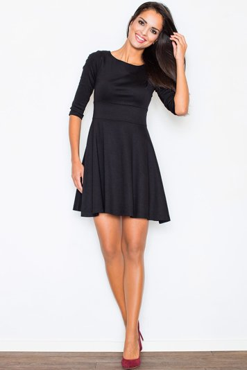 Figl 81 glamour subtle feminine 3/4 sleeve flared dress with modest neckline