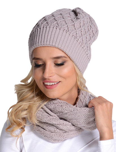 Fil'loo CD-055 hat and snood set beanie smooth warm casual winter