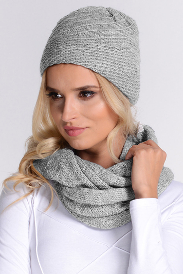Fil'loo CD-069 women's hat and snood set smooth warm winter