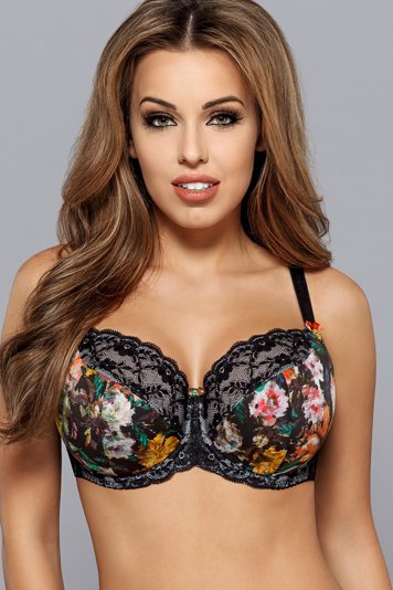 Gaia 614 Keira underwired semi padded full cup bra floral lace