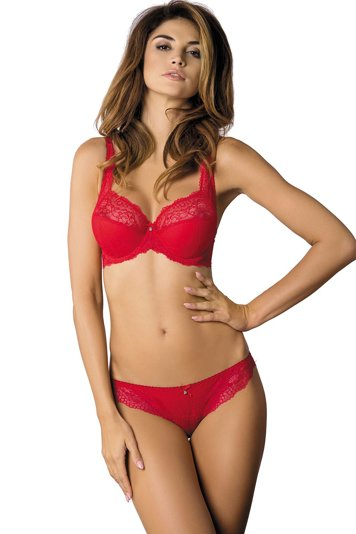 Gorteks Scarlet/B3 underwired semi padded full cup bra pattern adjustable straps