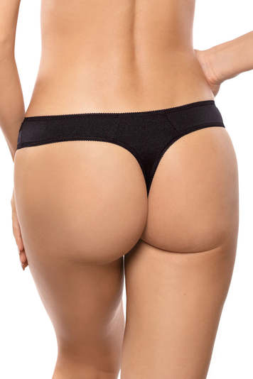 Gorteks women's embroidered thong Onyx/S