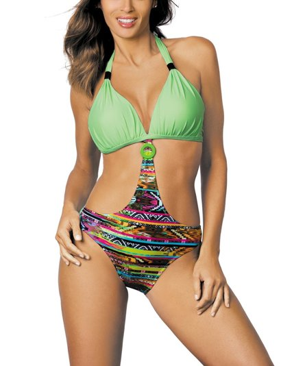 Marko Anabella M-425 women's monokini one-piece swimsuit halterneck pattern