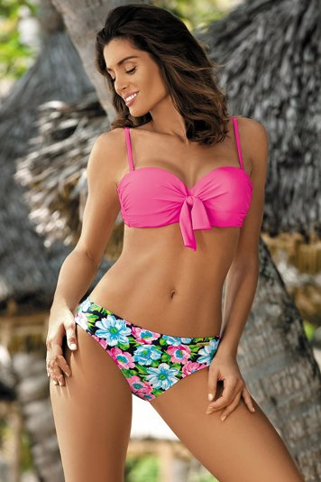 Marko Pamela M-421 women's bikini set padded push-up cups flower pattern
