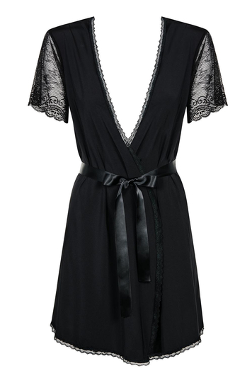 Obsessive Miamor black beautifully finished robe with lacy sleeves and satin waist belt