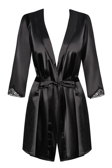 Obsessive Satinia robe black womens dressing gown and thong set robe lace