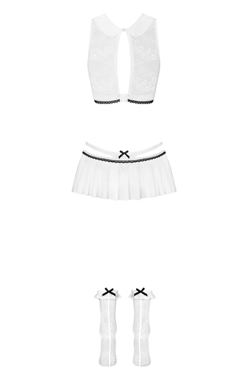 Obsessive sexy adult schoolgirl lace costume 833-CST-2