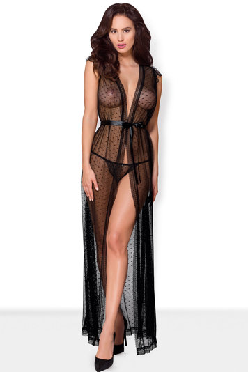 Obsessive sexy sheer dotted dressing gown  876-PEI-1