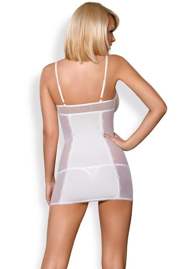 Obsessive sheer lace nightdress and thong set 843-CHE-2