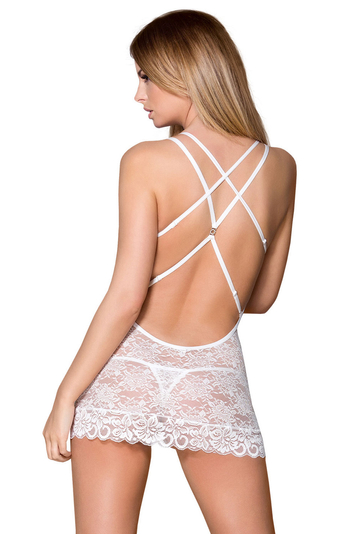 Obsessive underwired sheer lace nightdress and thong 860-CHE-2