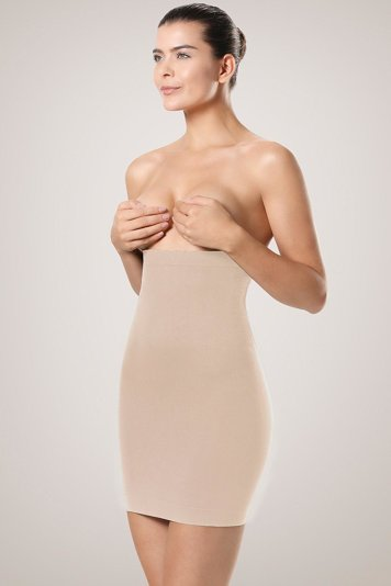 Plie 50420 classic strapless high waist shapewear dress body shaper for women