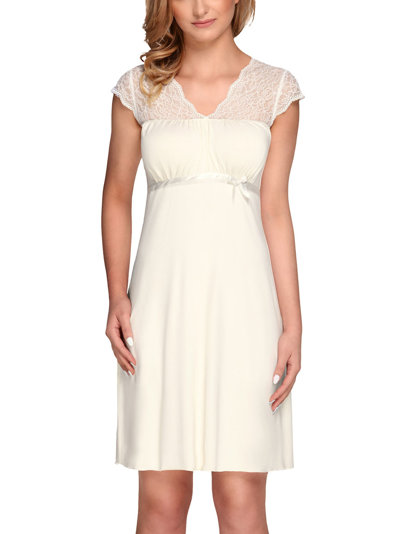 Vivisence 2007 women's nightdress v neck short sleeved lace smooth