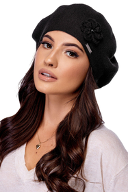 Carmen women's smooth beret with decoration B-04