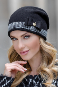 Eterno Olga women's beanie hat two-colour herringbone stitch with decoration