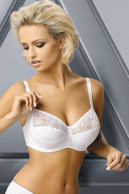 Gaia 60 classic comfortable semi padded bra with openwork lace - big cup