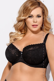 Gorsenia K131 Bellami underwired half padded full coverage bra with lacy pattern