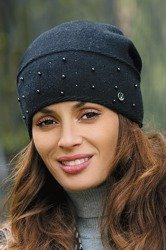 Kamea Maria women's woolen beanie mono colour not patterned with pearls